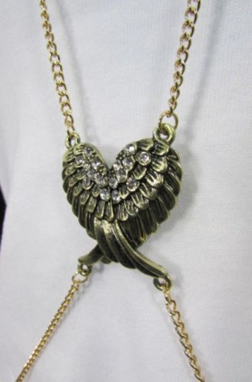 Other Women Gold Body Chain Long Necklace Angel Wings Fashion Jewelry Rhinestones