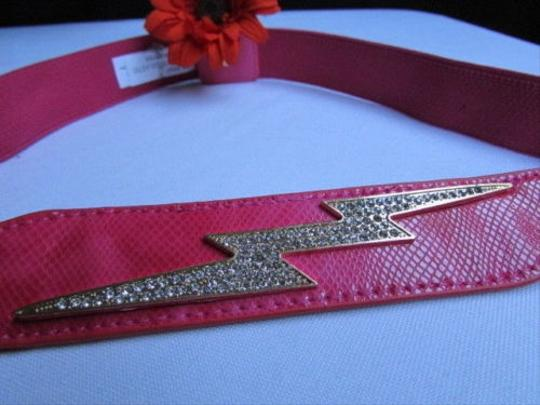Other Women Elastic Pink Thin Fashion Belt Rhinestones Big Lightning 28-38 S-l
