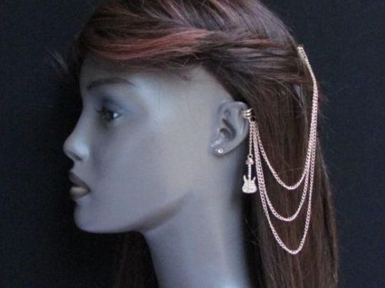 Other Women Gold Guitar Metal Multi Chains Fashion Hair Pin Connected Cuff Earring