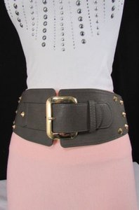 Other Women High Waist Low Hip Elastic Wide Fashion Belt Gold Studs Black D. Gray