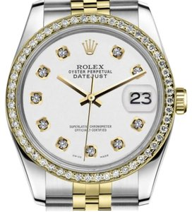 Rolex Ladies Rolex 31mm Datejust 2 Tone White Color Dial with Diamond Accent