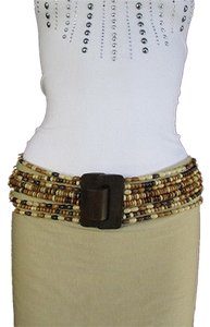 Women Black Cream Brown Elastic Fashion Belt Wood Beads Buckle 26-40 S M L