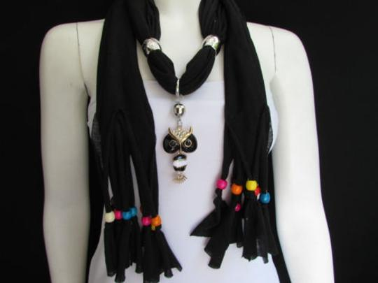 Other Women Black Fashion Soft Scarf Long Necklace Multicolors Wood Beads Owl Pendant