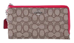 Coach * Coach Double Zip Wallet in Signature Fabric