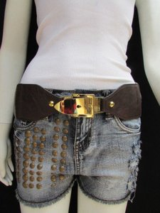 Other Women Waist Hip Dark Brown Elastic Fashion Belt Classic Gold Buckle 27-33