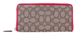 Coach * Coach Accordion Zip Wallet In Signature Canvas