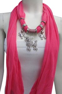 Women Fashion Necklace Fabric Scarf Big Poodle Dog Pendant Pink Black Blue