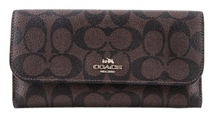 Coach * Coach Signature PVC Coated Canvas Checkbook Wallet Dark Brown