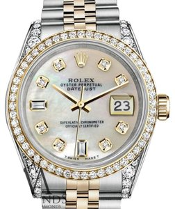 Rolex Stainless Steel And Gold 36 mm Datejust White MOP Diamond Dial Watch