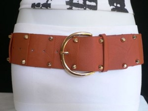 Women Hip Waist Elastic Orange Fashion Belt Gold Studs Buckle 22-30