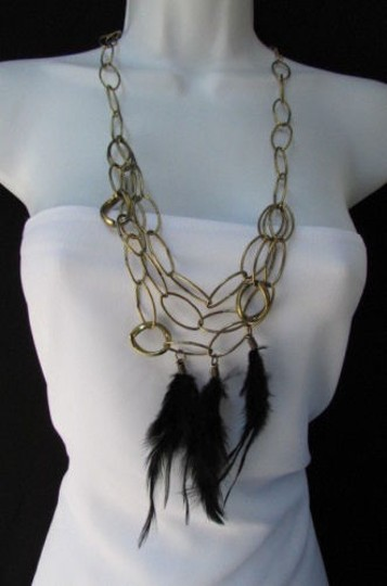 Other Women Long Fashion Necklace Gold Thich Multi Chains Long Black Feathers Nyc