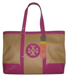 Tory Burch Patent Gold Hardware Tote in Natural/Pink Trim