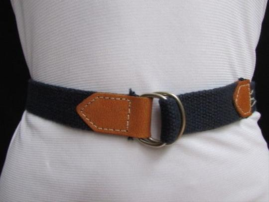 Other Women Navy Blue Fabric Fashion Belt Silver Metal Buckle Faux Leather 25-29