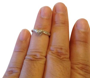 David Yurman size 4, sterling silver, 18k yellow gold, heart shaped, stacking ring