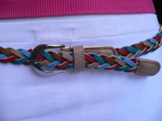 Other Women Braided Taupe Thin Fashion Belt Red Brown Blue 32-38