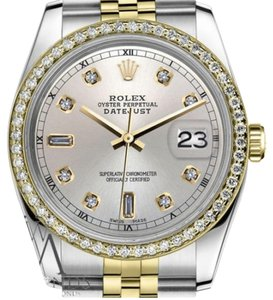 Rolex Ladies 31mm Datejust 2 Tone Silver Color Dial with 8+2 Diamond Accent