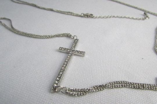 Other Women Silver Body Chain Rhinestones Cross Pendant Necklace Jewelry