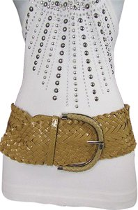 Other Women Beige Wide Braided Hip Waist Fashion Belt Faux Leather 34-45 M L Xl