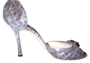 Manolo Blahnik High Heels Stiletto Leopard Silver Pumps