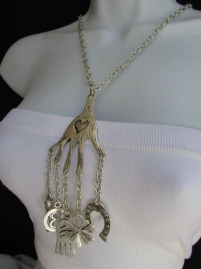 Other Women Metal Silver Chain Hand Horse Shoe Fashion Long Luck Signs Necklace