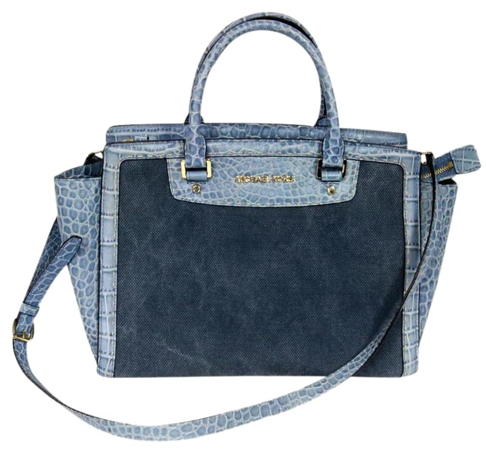 a891eb7527e0 Michael Kors Limited Edition Crocodile Baby Handbag Cross Body Blue ...