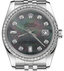 Rolex Women's 31mm Datejust Black Mother Of Pearl with 8 + 2 Diamond Watch