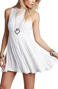 Free People short dress White Cotton Embroidered Mini on Tradesy