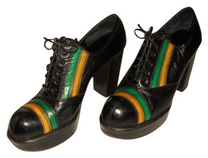 SiCohen Vintage Unique Style Black with green and yellow stripe designs Platforms