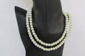 Women 18 Long Strand Imitation Pearl Beads Classic Fashion Necklace