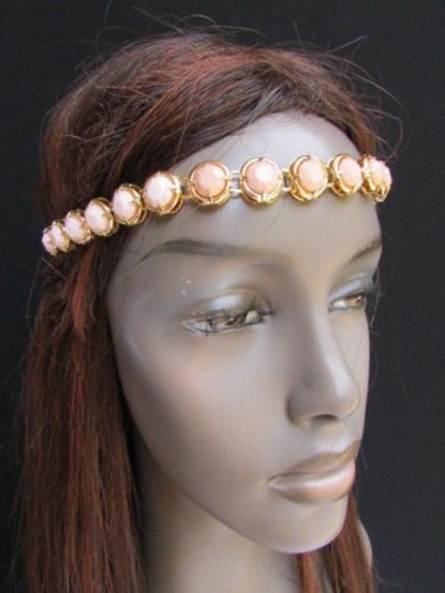 Other Women Gold Head Chain Fashion Jewelry Big Cream Off White Beads Headband