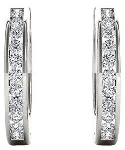 Elizabeth Jewelry 10Kt White Gold Diamond Hoop Earrings