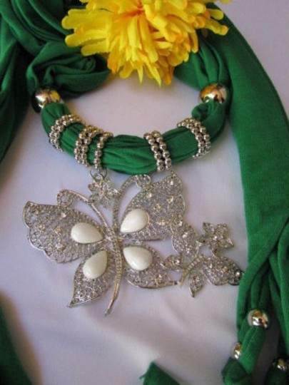 Other Women Soft Fabric Green Fashion Scarf Long Necklace Huge Butterfly Pendant