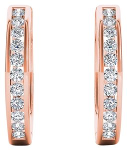 Elizabeth Jewelry 10Kt Rose Gold Diamond Hoop Earrings