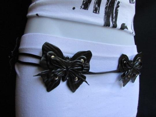 Other Women Black Faux Leather Tie Fashion Belt Big Multi Butterfly 30-35 Sm