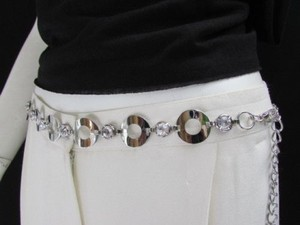 Other Women Hip Waist Silver Metal Fashion Belt Circles Round 30-44 S-m-l-xl