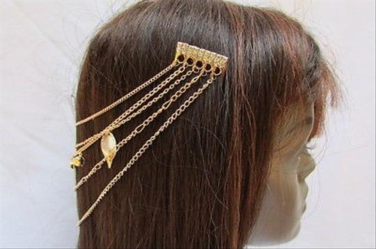 Other Women Gold Metal Head Chain Hair Pin Jewelry Claws Leaves Silver Rhinesones