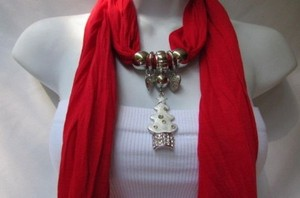 Other Women Fashion Soft Scarf White Snow Christmas Tree Metal Pendant Red Green