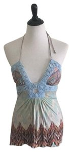 Sky Blue print Halter Top