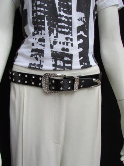 Other Women Black Faux Leather Western Studs Belt Silver Rhinestones Buckle 30-36
