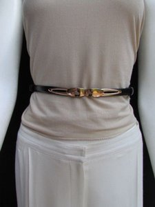 Women High Waist Hip Black Ultra Thin Fashion Belt Gold Buckle 22-40