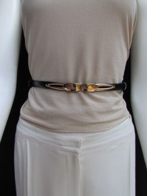 Alwaystyle4you Black Women High Waist Hip Ultra Thin Fashion Gold Buckle Belt Alwaystyle4you Black Women High Waist Hip Ultra Thin Fashion Gold Buckle Belt Image 1