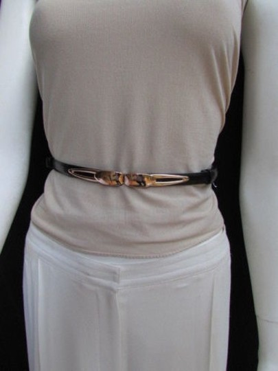 Other Women High Waist Hip Black Ultra Thin Fashion Belt Gold Buckle