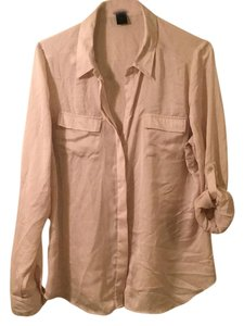 Ann Taylor Sateen Longsleeve Polished Top Tan