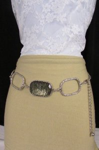 Other Women Silver Metal Chains Hip Fashion Belt Big Zebra Square 24-42