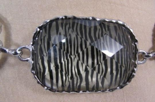 Other Women Silver Metal Chains Hip Fashion Belt Big Zebra Square