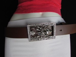 Women Brown Faux Leather Fashion Belt Big Spider Rhinestone Buckle 36-40 Lxl