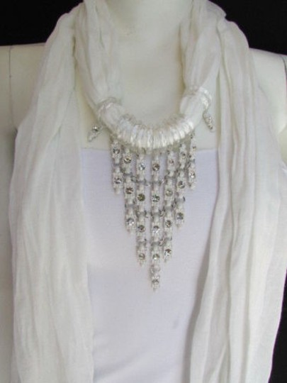 Preload https://item1.tradesy.com/images/women-white-fashion-soft-scarf-long-necklace-triangle-silver-rhinestones-pendant-1929530-0-0.jpg?width=440&height=440
