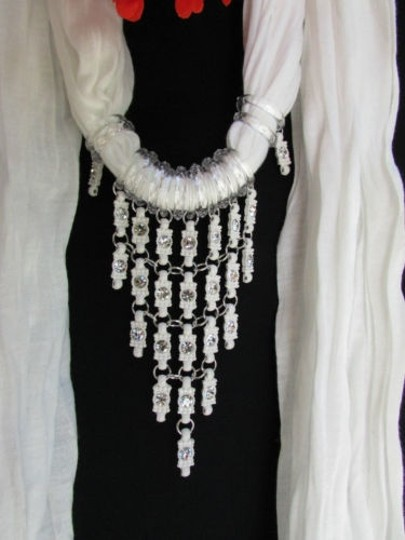 Other Women White Fashion Soft Scarf Long Necklace Triangle Silver Rhinestones Pendant