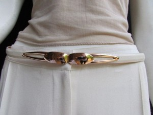Other Women High Waist Hip White Ultra Thin Fashion Belt Gold Buckle 22-40