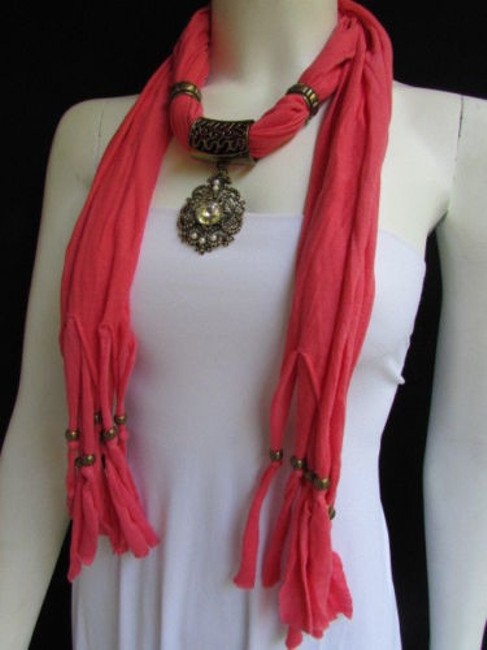 Women Pink Fashion Soft Scarf Long Necklace Big Silver Center Bead Pendant Women Pink Fashion Soft Scarf Long Necklace Big Silver Center Bead Pendant Image 1